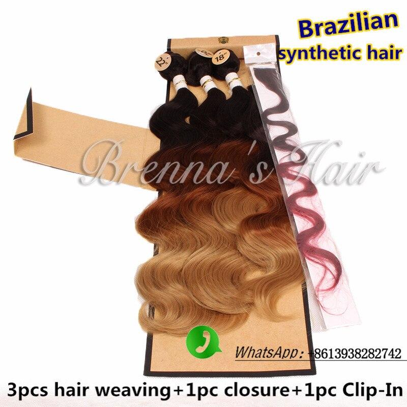 Three Tone Ombre Hair Synthetic Brazilian Hair Weave Bundles Body