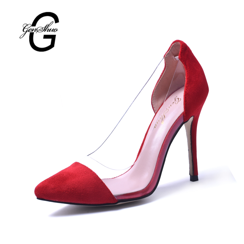 GENSHUO Women High Heel Shoes Red Vintage Style Woman Shoes High Heels Black Clear Sexy Wedding Designer Shoes Stiletto Pumps siketu 2017 free shipping spring and autumn women shoes fashion sex high heels shoes red wedding shoes pumps g107