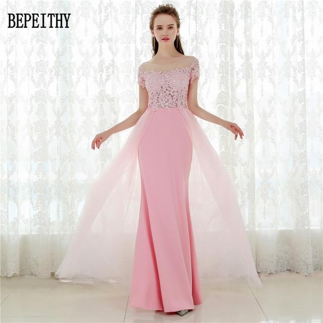 BEPEITHY Vestido De Festa Short Sleeves Pink Chiffon Long Prom ...