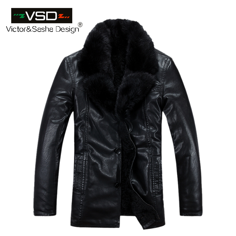 4dedf38451c 2016 Freeshipping Hot Sale Fashion Winter Men s Coats Imitation Leather  Jacket Mink fur Collar Leather Jackets