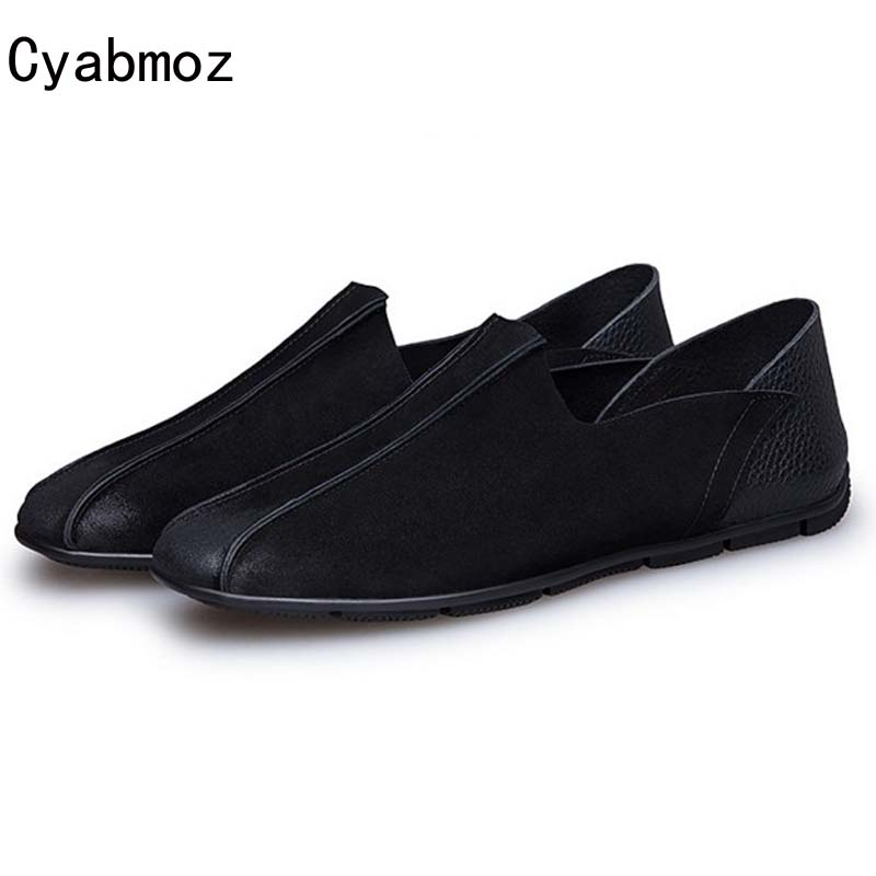 Cyabmoz Brand Vintage Flats Men Loafers 2017 Genuine Leather Men Suede Moccasins Driving Shoes Retro Slip On Chaussure Homme cyabmoz brand new breathable vintage crocodile pattern genuine leather moccasins men casual shoes loafers flats slip on zapatos