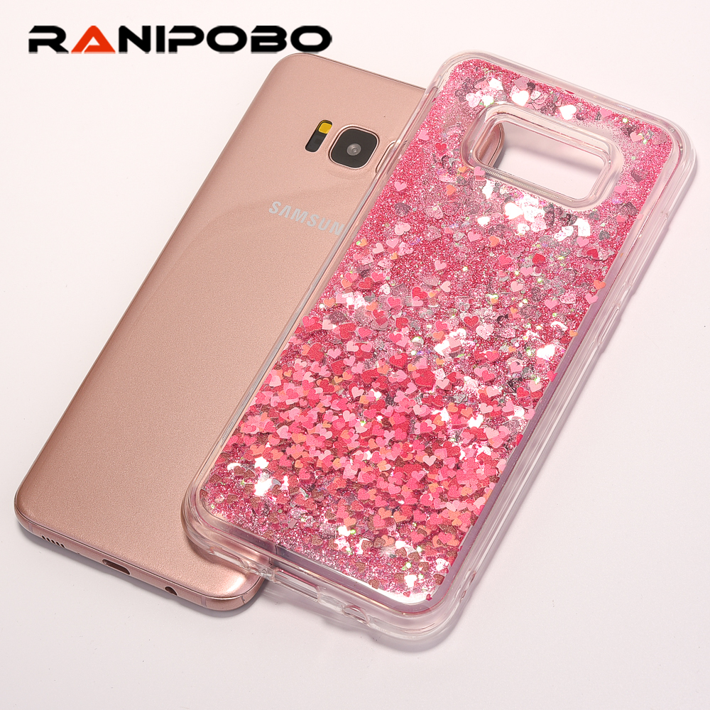 luxury Phone Case For Samsung Galaxy S8 S8 Plus Cover Liquid Quicksand Glitter Case For Galaxy S8 Cute Flower Patterned Cases