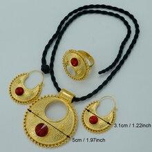 Etíope Nuevo conjunto Joyería Colgante Collar Negro/Pendientes/Anillo Chapado En Oro 22 k Novia de la Boda de África Etiopía Eritrea sets #015506