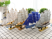 Solid Wood Sailboat Mediterranean Style Ornament Decoration Small Creative Ship Model Craft Craft Model Pirate Ship Wooden Boat