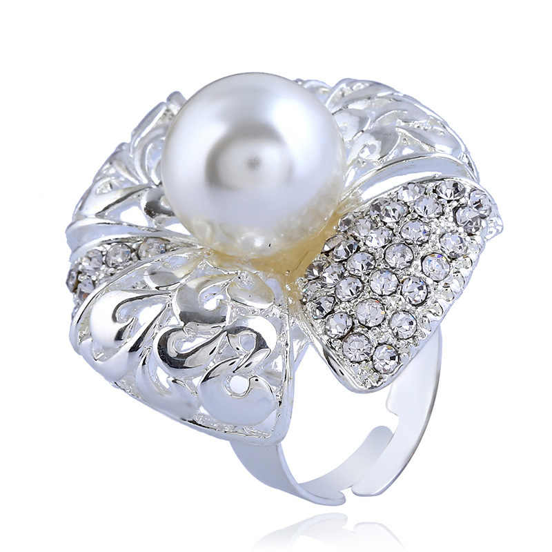 Shiny Silver Color Pearl Beads adjustable Big Flower Shaped full of rhinestone chunky ring for women girls fashion jewelry