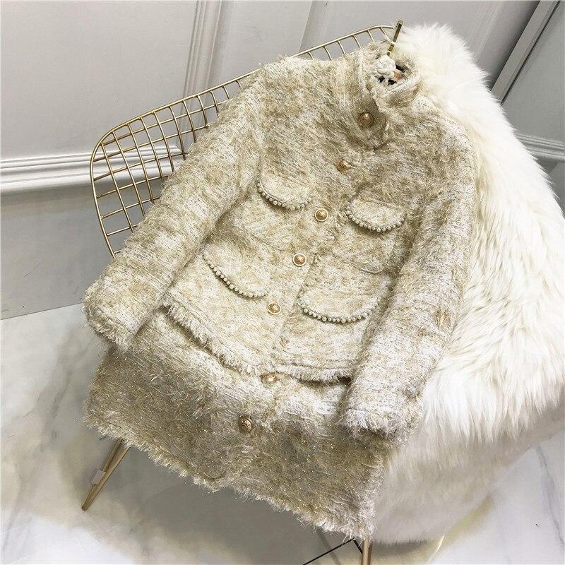 Novo inverno pesado borlas tecelagem casaco de tweed + prego talão temperamento saia de cintura alta UMA palavra das mulheres ternos