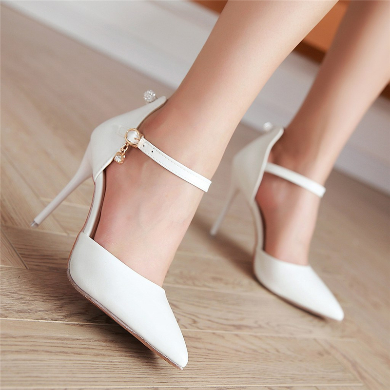Women Ankle Strap Valentine Sandals Shoes Sexy Thin High Heels Causal Pointed Toe Ladies Woman Party Shoes Plus Size 34-45 women flat sandals fashion ladies pointed toe flats shoes womens high quality ankle strap shoes leisure shoes size 34 43 pa00290