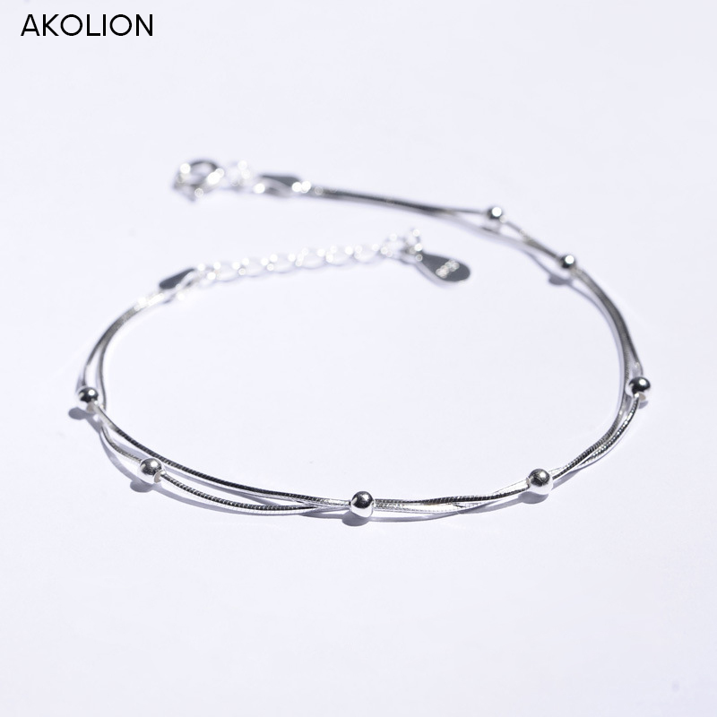 AKOLION Silver Jewelry Wholesale Round Bead 925 Bracelet for Women Girl New Design Gift Fashion Jewelry