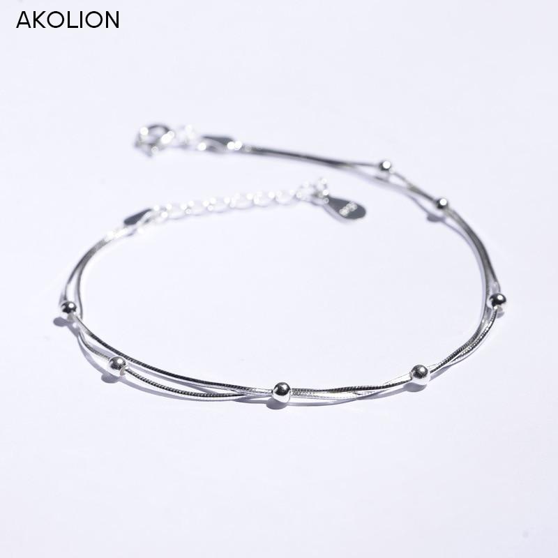 AKOLION sudraba rotaslietu vairumtirdzniecības apaļa pērle 925 aproce sievietēm meitenēm jauna dizaina dāvanu modes rotaslietas