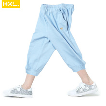 2018 Summer New Boys Girls Pants Calf-length Slub Cotton Thin Kids Leggings Trousers Loose Fitting Baby Solid Colors ants