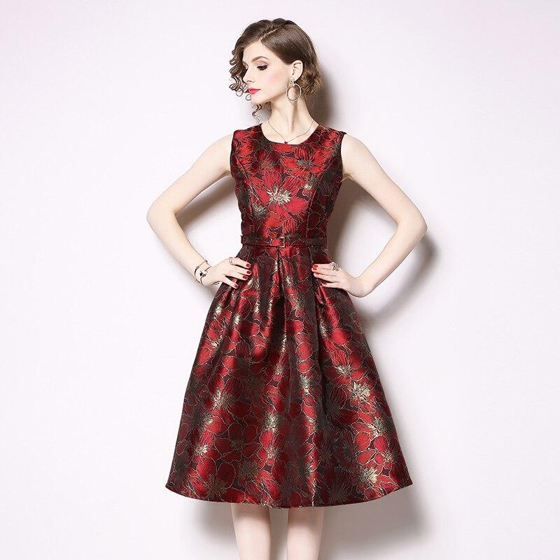 16fe65cca577 Robe 2019 Dress Stampa c1 Vestito Modo Elegante Senza collo Estate Di  Maniche Delle O Midi ...