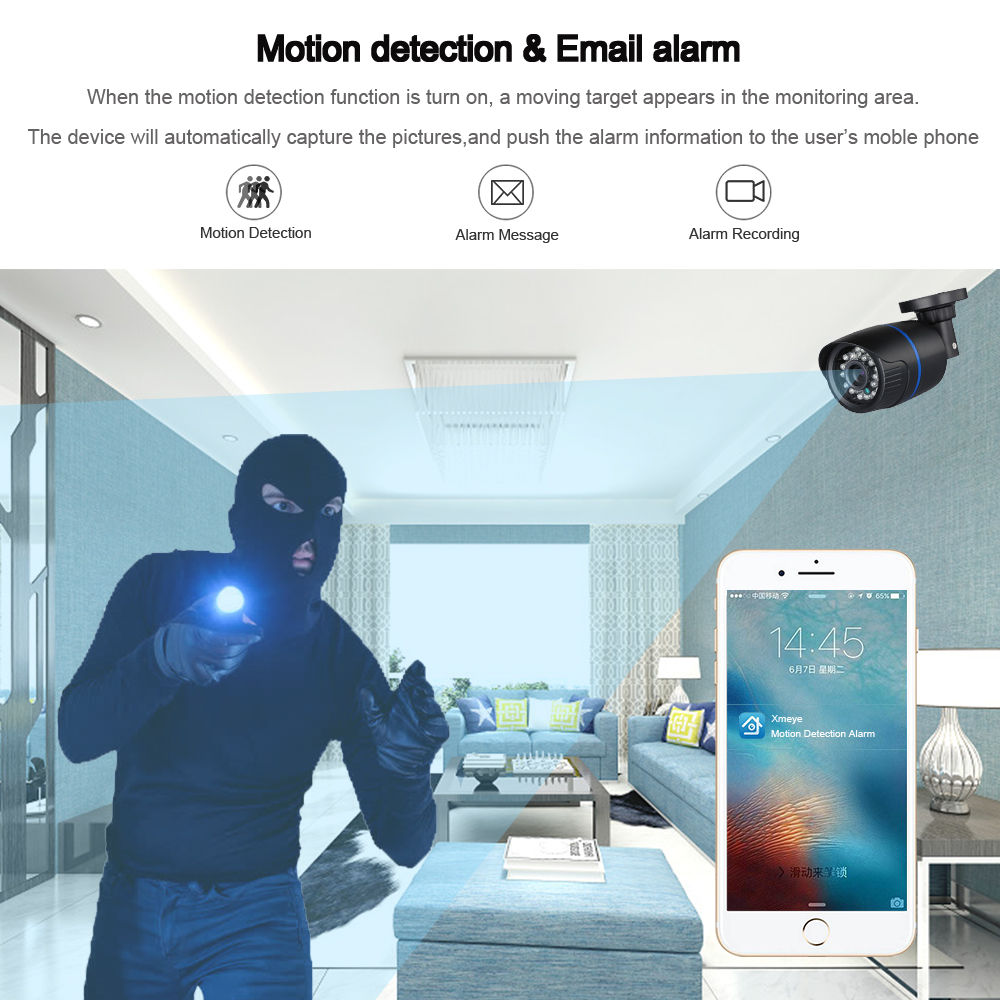 Image 4 - Hamrolte ONVIF IP Camera 2.8mm Lens Wide Angle 1080P Outdoor Nightvision Surveillance IP Camera Motion Detection Remote Access-in Surveillance Cameras from Security & Protection
