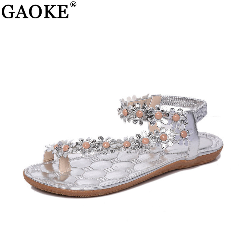 Summer Women Sandals 2018 Fashion Bohemia Women's Shoes Flower Sandalias Femininas Casual Thong Flats Shoes Women summer sandalias mujer women sandals bohemia shoes beach sandalias femininas casual thong flats sapato feminino gold sliver