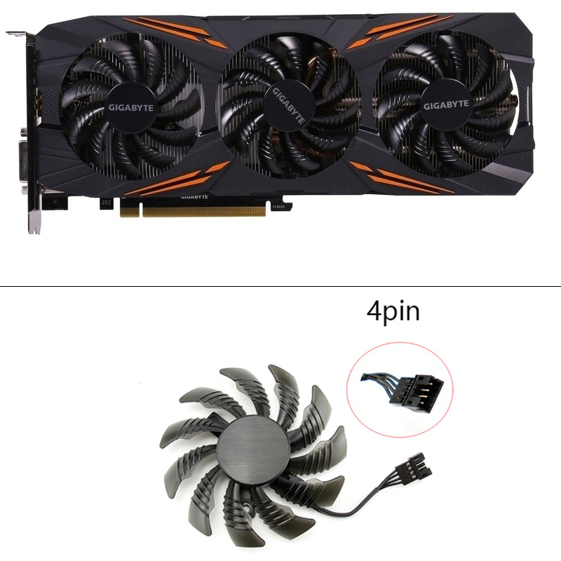 New 75mm T128010SU Cooler Fan Gigabyte AORUS GeForce GTX1070 1080Ti G1 GTX1660 TI Card Cooler Fans-in Laptop Cooling Pads from Computer & Office
