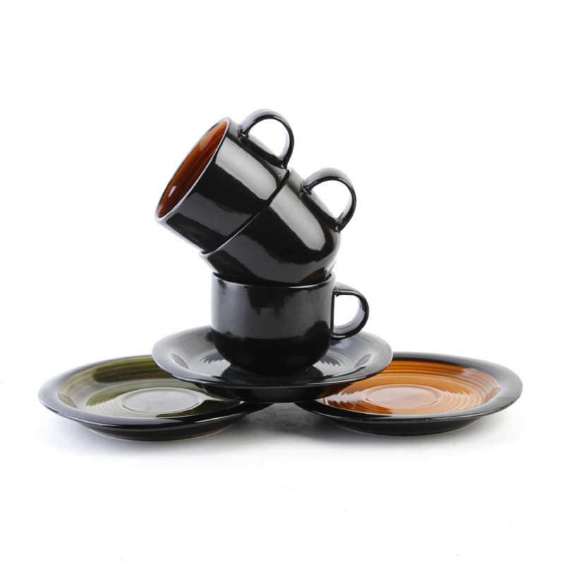 Бесплатная доставка креативный Европейский стиль латте искусство керамическая кофейная чашка винтажный градиентный цвет Урожай circl кофейная чашка и блюдце наборы
