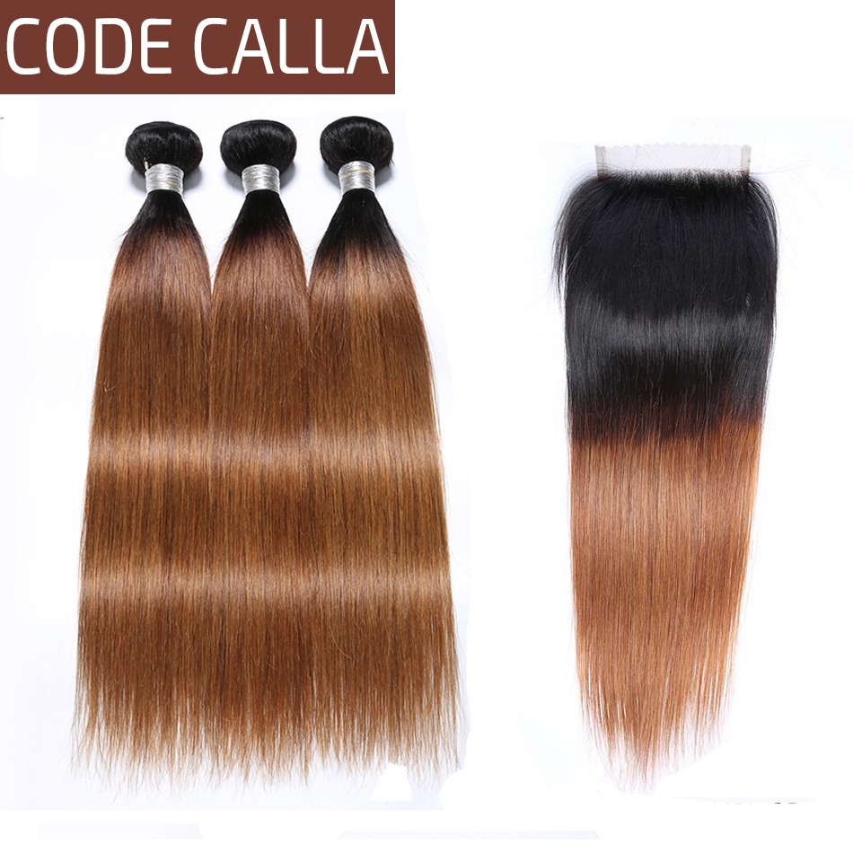 Code Calla Ombre Color Straight Bundles With 4*4 Lace Closure Unprocessed Brazilian Raw Virgin Human Hair Weave Weft Extension