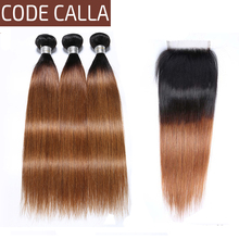 Code Calla Ombre Color Straight Hair Bundles With Lace Closure Unprocessed Brazilian Raw Virgin Human Hair Weave Weft Extension все цены