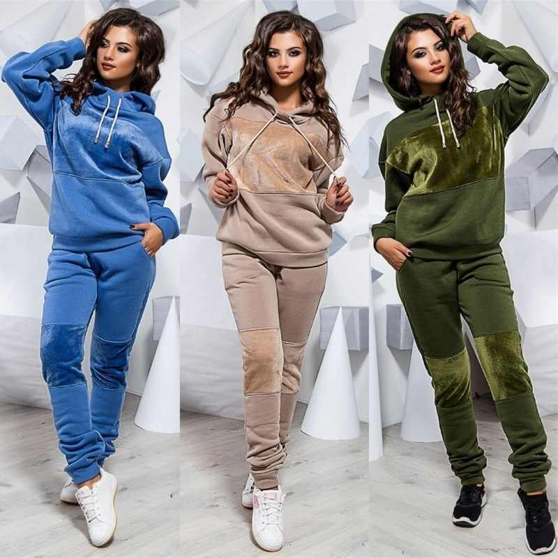 2019 Autumn and Winter Leisure Suit Ladies Hooded Sweater Sports Suit Women's Fashion Large Size Two-piece