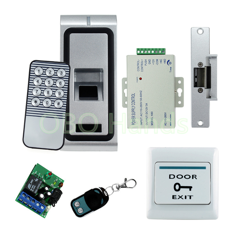 Full security door lock system kit set fingerprint access control system set with biometric door lock electronic door locks remote control electronic door lock set automatically intellisense household warded lock with 4 remotes
