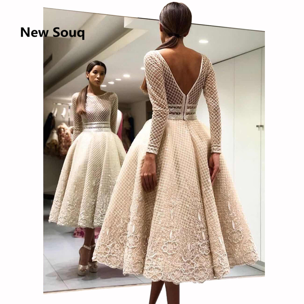 2019 Summer Tea Length A-Line Short   Prom     Dresses   Applique Lace O-neck Long Sleeves Evening   Dress   Vestido De Fiesta   Prom   Gowns