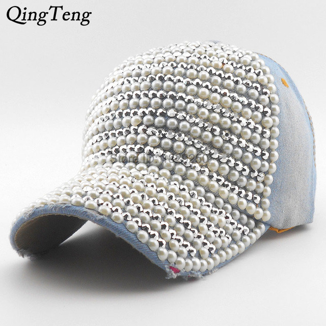 Pearl Rhinestone Fashion Baseball Cap Brim Woman Snapback Hats Denim Jeans  Hip Hop Women Cowboy 2018 c4f7a0c97234