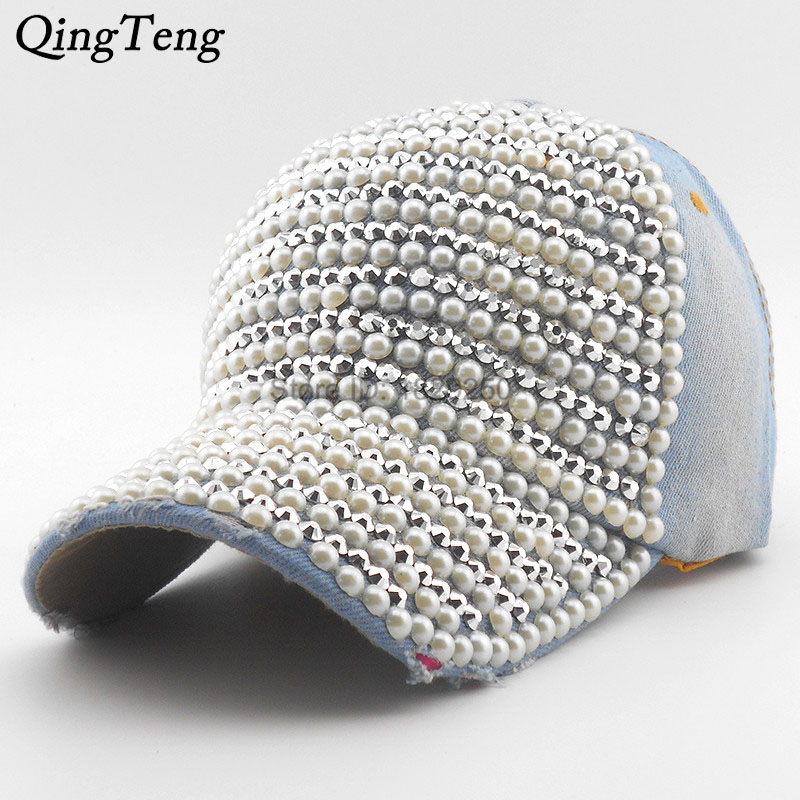Pearl Rhinestone Fashion   Baseball     Cap   Brim Woman Snapback Hats Denim Jeans Hip Hop Women Cowboy 2018 Luxury Casquette   Baseball