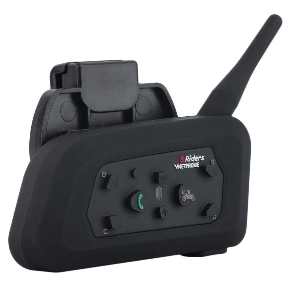 HIGH QUALITY Version V6 1200m Motorcycle Helmet Bluetooth Intercom Headset Intercomunicador 6 Riders BT Interphone EU Plug