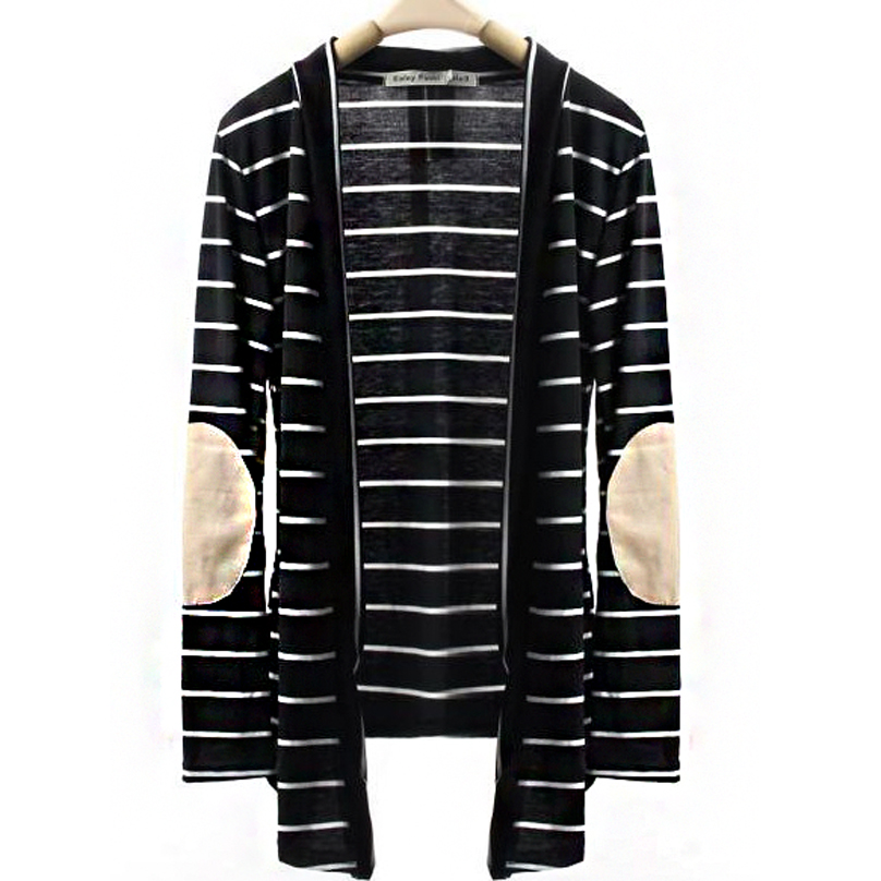 S-XL Spring Autumn Women Stripe Cardigan Long Sleeve Outerwear Casual Loose Sweater Patch-W7 10