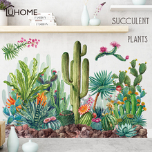 Green Cactus Wall Decals Woodland Tribal Stickers for Kitchen Living Room Decor Art Succulent Plant Tattoo