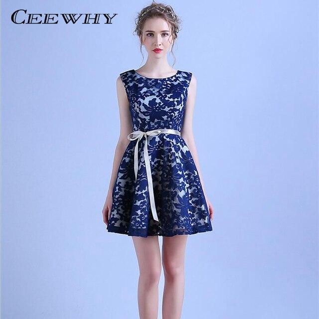 0e7fd69f3 CEEWHY A-Line sin mangas azul marino corto vestido de fiesta estilo encaje Formal  vestidos