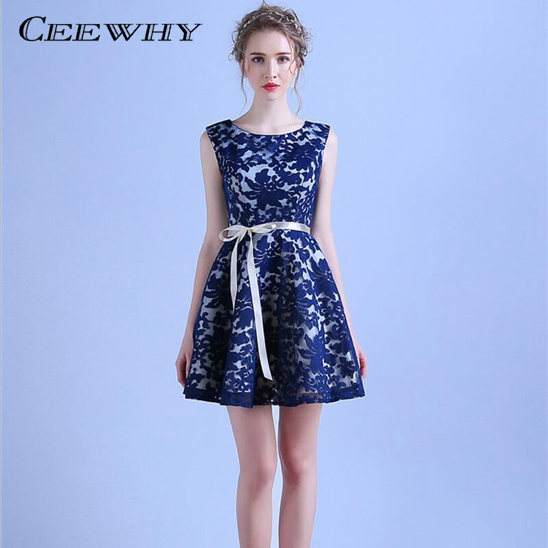 CEEWHY Sleeveless A-Line Navy Blue Short Party   Dress   Style Lace Formal   Dress     Cocktail     Dresses   Mini Homecoming Graduation   Dresses
