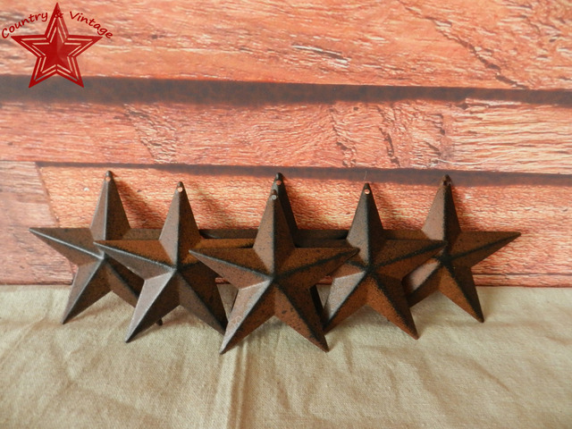 Country Rustic Antique Vintage Gifts Metal Barn Star Wall Decor 4 Inch Rust