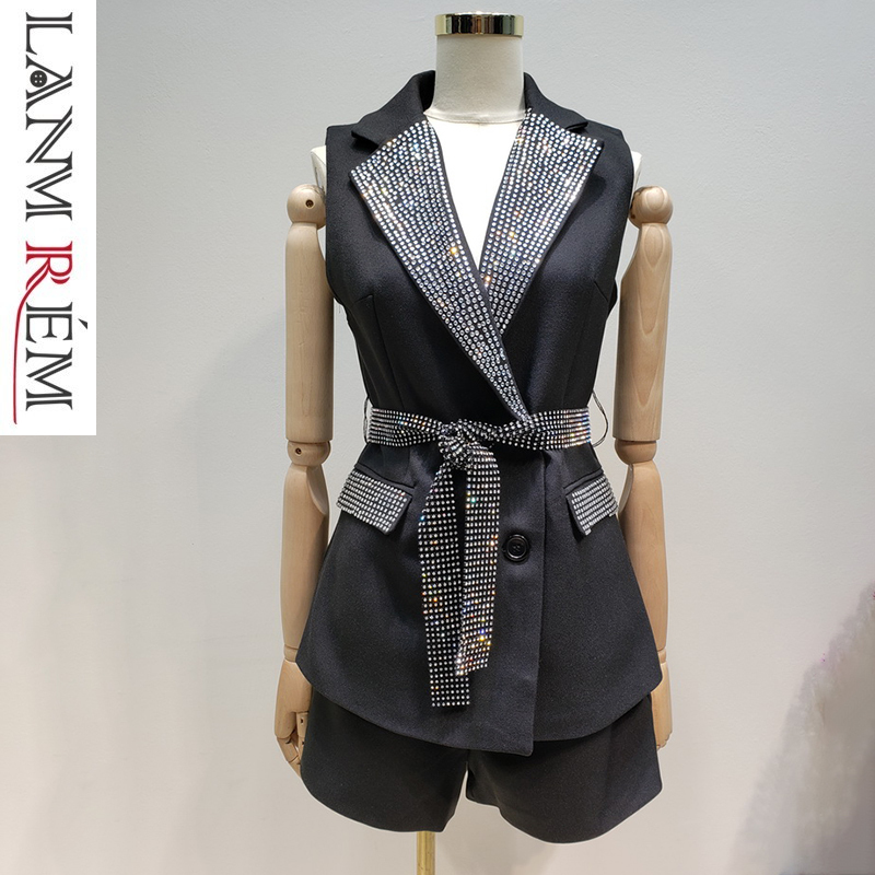 Shorts Fashion Casual Womens Two Pieces Set Qf24600m Lanmrem 2019 Spring Summer New Hot Drilling Lapel Sleeveless Vest Women's Sets