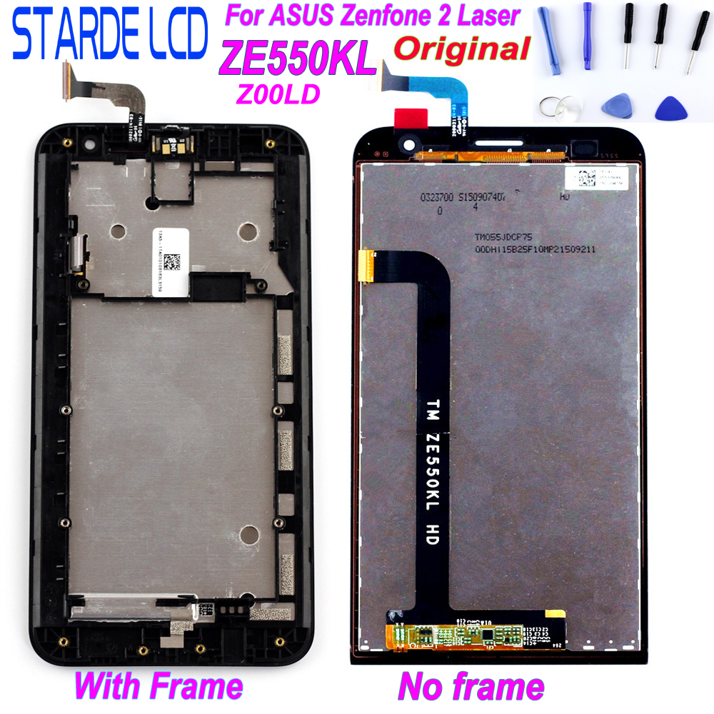 Original Display For ASUS Zenfone 2 Laser ZE550KL Z00LD LCD Display Touch Screen With Frame Replacement Parts With Free Tools