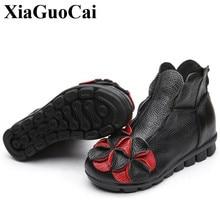 Zapatos de Cuero genuinos de Las Mujeres Botas Pisos Zapatos Casuales de Primavera y Verano Cómodo Suave Suela Del Zapato de Las Mujeres Botines Calzado H61 35