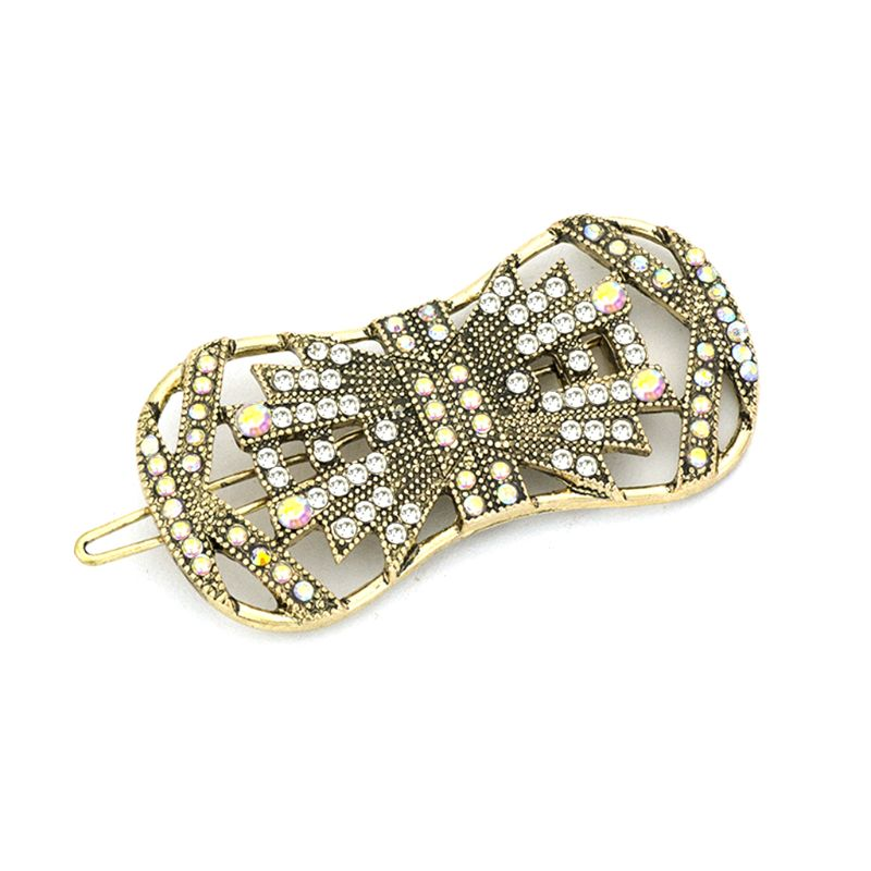 Ladies Vintage Geometric Hollow Bowknot Hair Clip Rainbow Glitter Rhinestone Styling Hairpin Wedding Party Metal Alloy Barrette in Women 39 s Hair Accessories from Apparel Accessories