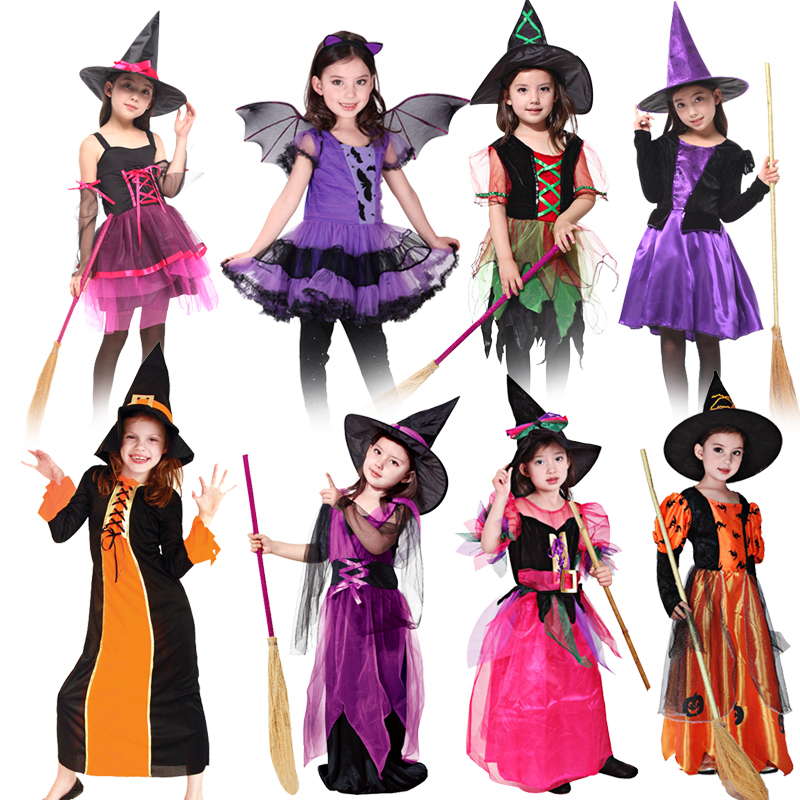 NoEnName Free shipping Purple witch Fancy Masquerade Party Girl Costume Children Cosplay Dance Dress Kids Holiday dress Gift