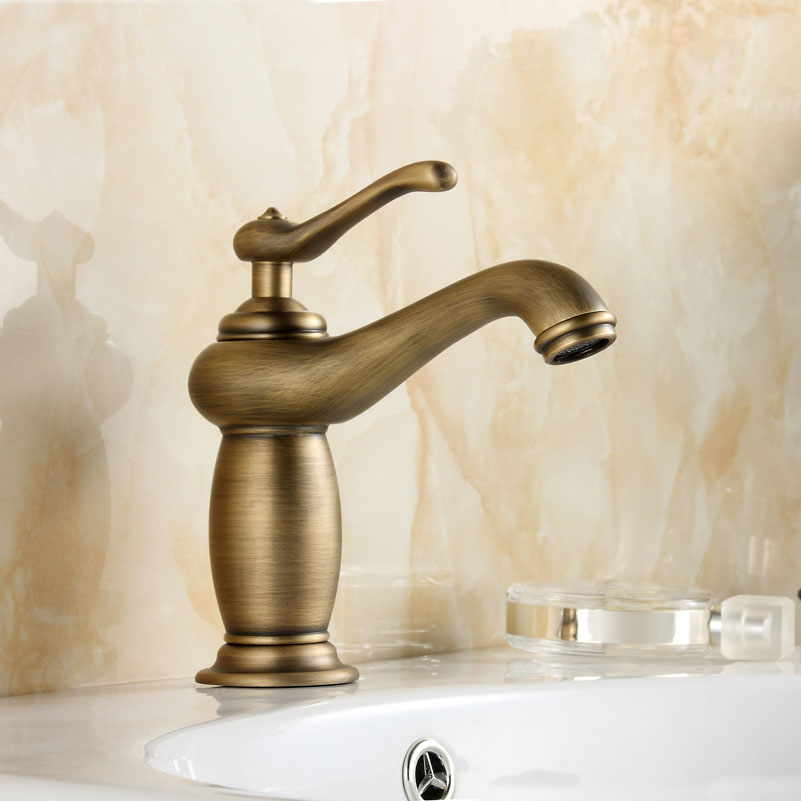 Classical Brushed Brass Mixer Retro Single Handle water Tap Bathroom Faucet Hot and Cold Water Basin Faucet HL1Classical Brushed Brass Mixer Retro Single Handle water Tap Bathroom Faucet Hot and Cold Water Basin Faucet HL1