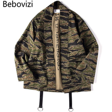 Bebovizi Japan Style Camo Kimono Jackets 2019 Mens Hip Hop Camouflage Casual Cotton Coats Fashion Streetwear Robe Jacket