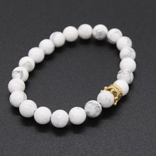 2pcs/set Couple Bracelets for Lovers Crown Queen Charm Stone Beads Bracelets