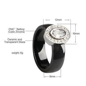 Image 3 - Egg Shape U Shaped Stud Earrings Big Carat Rings Jewelry Set Black White Ceramic Jewelry Set Wedding For Women Size 6 9