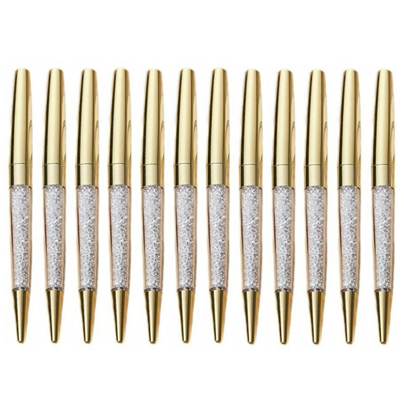 Shining gold pen ballpoint pen, student supplies, office pen (12 packs) (gold)