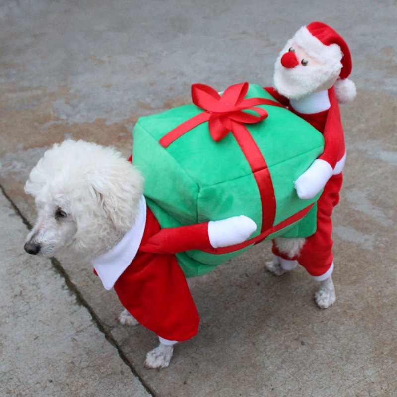 Christmas Dog Costumes Funny Santa Claus Dog Clothes Dog Gift Puppy Fleece Coat Warm Winter Pet Clothes