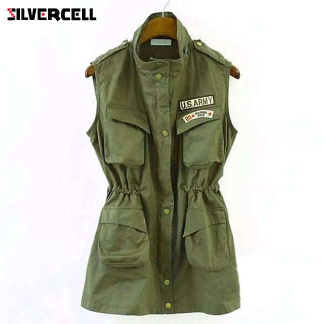 SILVERCELL Autumn Women Green Jacket Drawstring Vest Military Parka Button Trench Coat Outwear