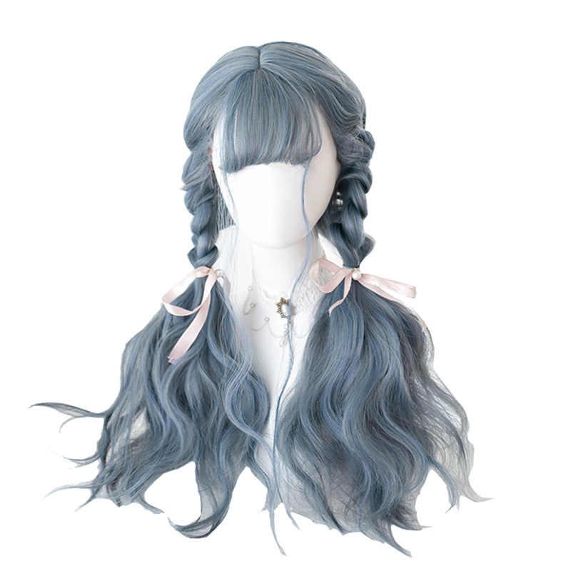 L-Mail Pruik Lange Blauw Mix Grijs Lolita Pruiken Dusty Blue Golvend Harajuku Cosplay Pruik Hittebestendige Synthetisch Haar halloween