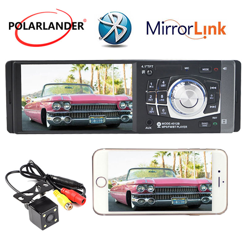4.1 inch 1 Din Rear Camera Bluetooth TFT MP4 Player USB TF Auxin FM Radio Mirror Link Only For Android Stereo Car Audio Stereo