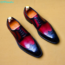 Luxury Classic Mens Brogue Oxfords Dress Shoes Genuine Cow Leather Lace Up Male Formal Footwear Wedding Party US 11.5