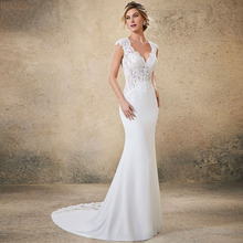 Eightree Boho Wedding Dress Mermaid Soft Stain Backless Sexy Beach Sweetheart Gown Custom Made Bride  Appliques