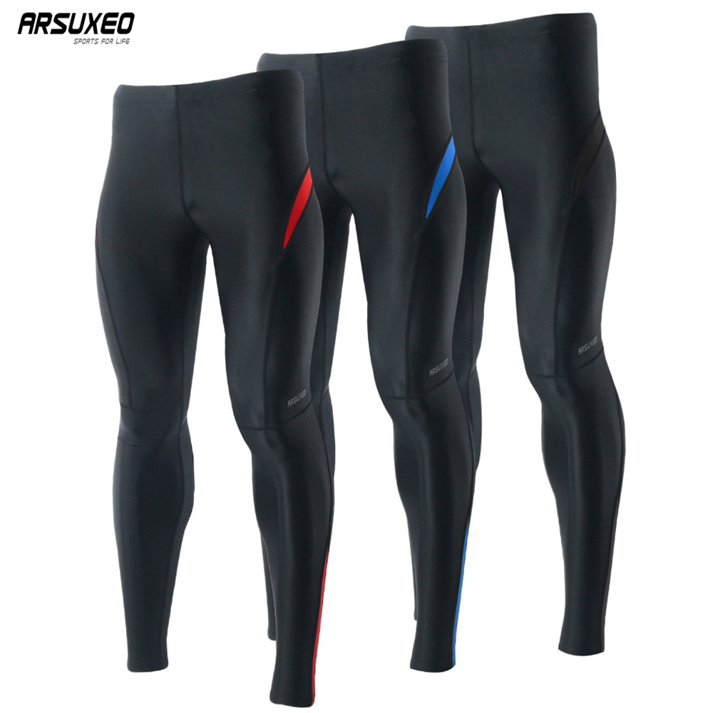 ARSUXEO Compression Sport Men's Tights Running Elastic Pants Tights Run Fitness Workout GYM Reflective Pants 9013 rib knit tights