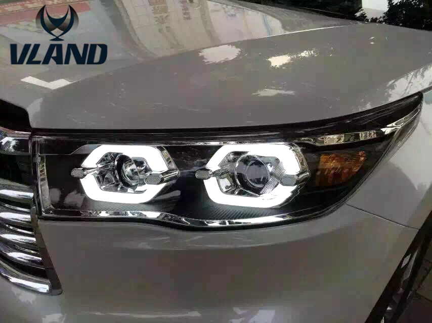 Free shipping vland factory Auto car styling for  highlander headlight LED 2015  angel eyes plug and play design free shipping vland factory car parts for camry led taillight 2006 2007 2008 2011 plug and play car led taill lights